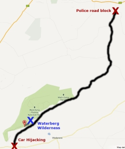 Autoraub, car hijacking, Überfall, robbery, Schweizer Urlauber, swiss tourists, Waterberg, Waterberg Wilderness, Rust, Polizei, police, Polizeisperre, road block, Rietfontein, Grootfontein, Otjiwarongo, Okakarara