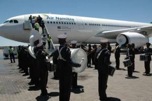 Empfang für den neuen Airbus 330-200 auf dem Flughafen nahe Windhoek